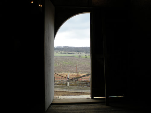 View from inside the barn
