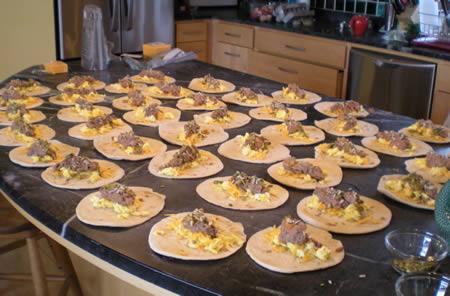 Breakfast burritos en masse