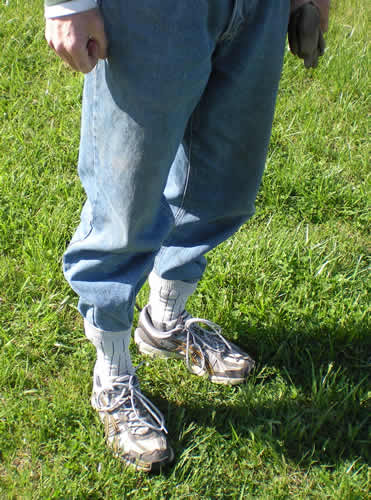 Pants tucked into socks