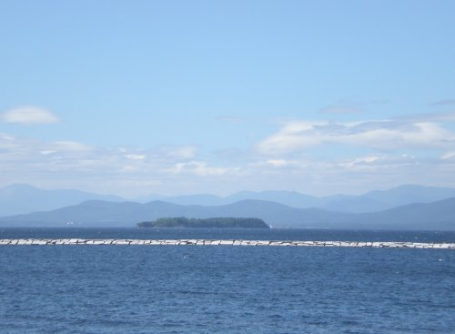 These are the Adirondacks, seen from Vermont across Lake Champlain. We sat on the Burlington waterfront and looked out over the water for a long time today.