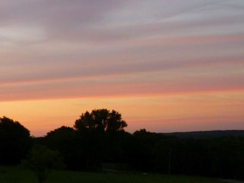 Looking north toward the Scenic River Road from my deck.  The warm and cool colors were harbingers of the storm last night.