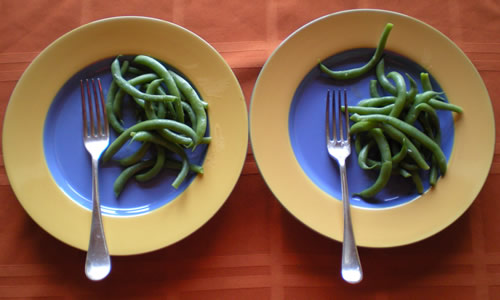We had just enough beans from our first harvest for us each to have a plate.