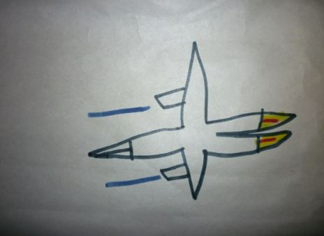 My friend, Giovanni, who turned 6 in April drew this picture of an X-Wing Fighter used by the Jedi Knights. He is becoming quite an artist.