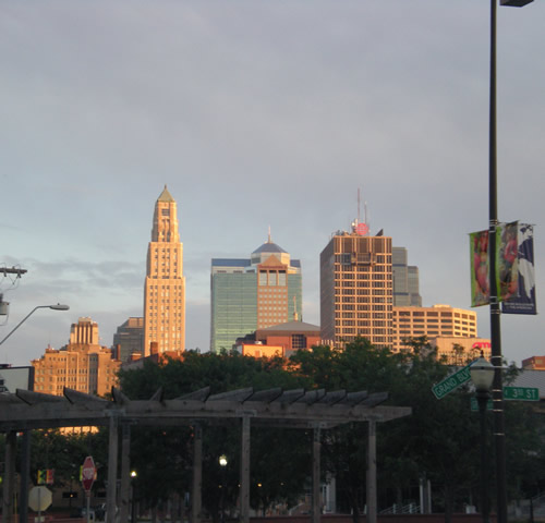 Kansas City skyline in the evening light