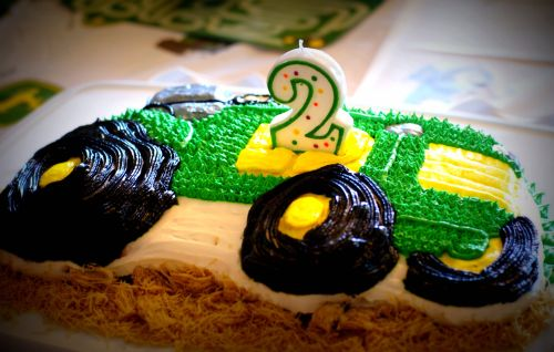 My grandson's 2nd birthday cake.  His mom and I made the cake--banana!  She decorated it.
