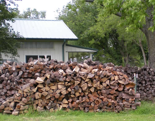 Firewood stacked outside Edzo's shop