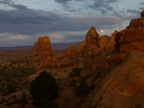 Moon rise over Arches National Park.  I just returned from a two-week tour of the Southwest.  I am mindful of Teddy Roosevelt's legacy that preserved this natural, magnificient part of the planet.  Get ready for more from my August vacation. I forgot my camera cord, or I would have posted along the way.