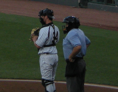 We went to a Kansas City T-Bones game last night.  Through most of the game I thought the umpire had a severe back problem.  Then I realized he was just wearing his padding under his shirt.  Why, I wonder?