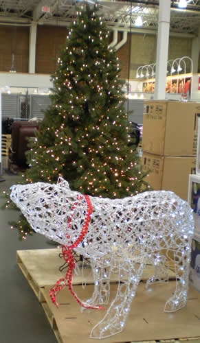 """It's September.  Costco has fake Christmas trees and lit-up """"polar bears"""" at the ready."""