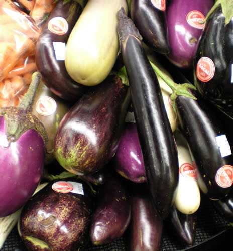 Aren't these eggplants beautiful?  Too bad about the stickers in the picture, but at least they indicate that the eggplants are local.