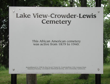 Lake View-Crowder-Lewis Cemetery sign. We have a small cemetery as a little cutout on our east property line. (This photo is from the archives.)