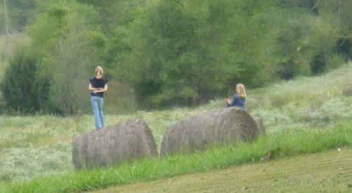 Our young neighbor, Emily, and a friend, were playing on the hay bales.  I caught them in this reflective mode.  Just before, they had been jumping up and down frantically waving at the traffic on our road and practicing cheers.  They were having a good time.  I didn't get my camera soon enough to capture their enthusiastic movement.  That would have been a great picture.