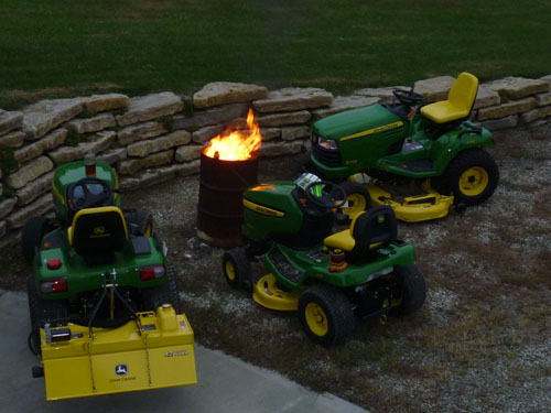 As the sun set, the temperature dropped, and the tractors got cold. If you look closely, you can see that they are roasting marshmallows