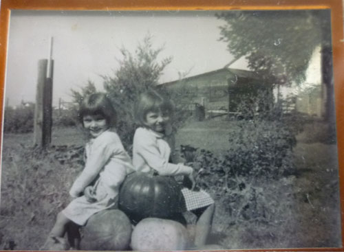 That's me on the left and my ornery sister, Pat, on the right.  We planted pumpkins one summer.  I think it was in '56 or '57.  As little girls, we wore dresses.  I don't rmember wearing pants of any sort until I was about 11 or 12.  We were so proud of those pumpkins!