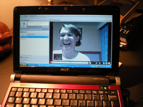 """This falls in the category of """"Uh-oh, I didn't post a photo today!"""" A person I love dearly is out of the country, so we are Skyping.  It's pretty cool."""