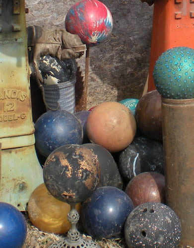 pile of bowling balls
