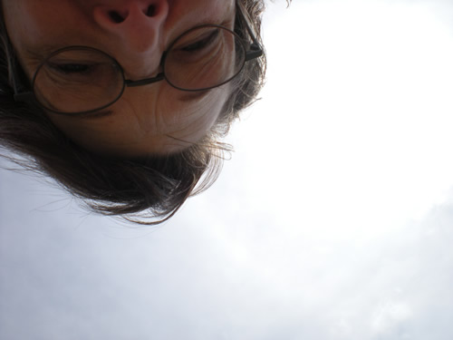 upside down photographer, view of the sky