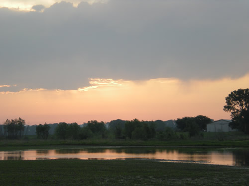 sunrise over flooded field
