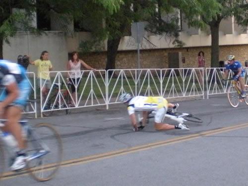 Bicyclist falling