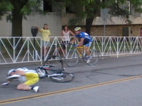 bicyclist on the ground