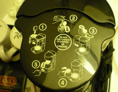 coffee maker instructions on top of coffee maker