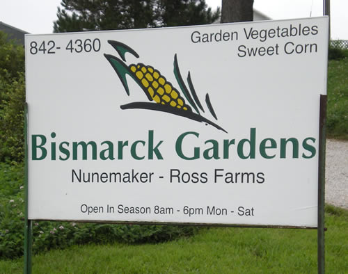 Sign for Bismarck Gardens corn