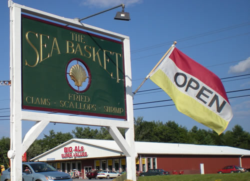 Open sign for The Sea Basket - scallops, clams, shrimp