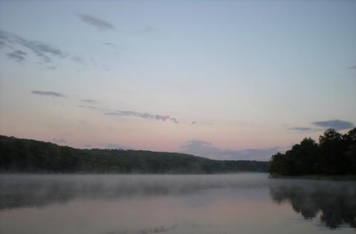 fog on early morning lake