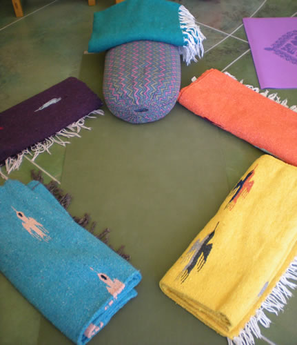yoga blankets and bolster