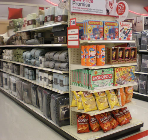 food for sale in the bedding section of Target
