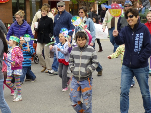 Giulia, Giovanni, and Jackie paraded for Cordley Elementary