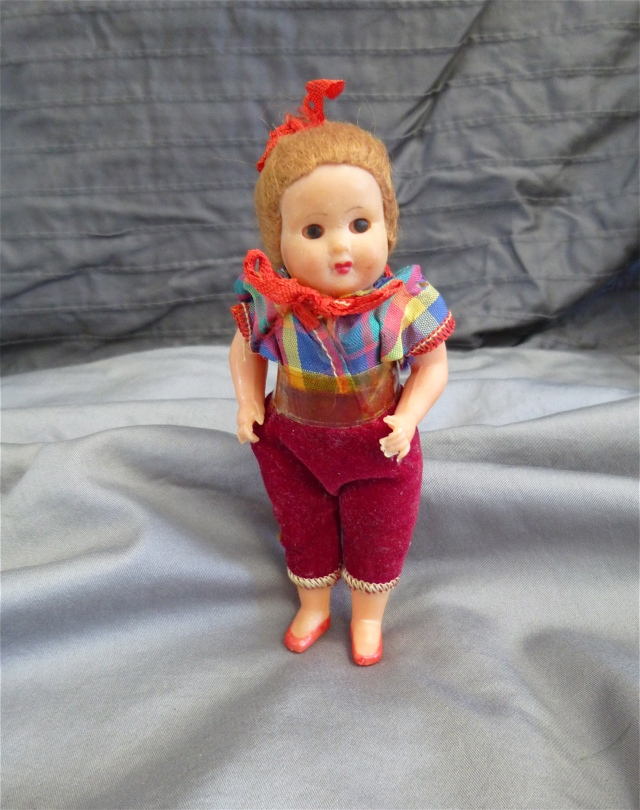 This little doll belonged to Suzanne Nickel.  Aunt Vickie and Uncle Dee adopted her when she was just a baby.  Tragically, when she was just five years old she died of lukemia.  That was in 1957.