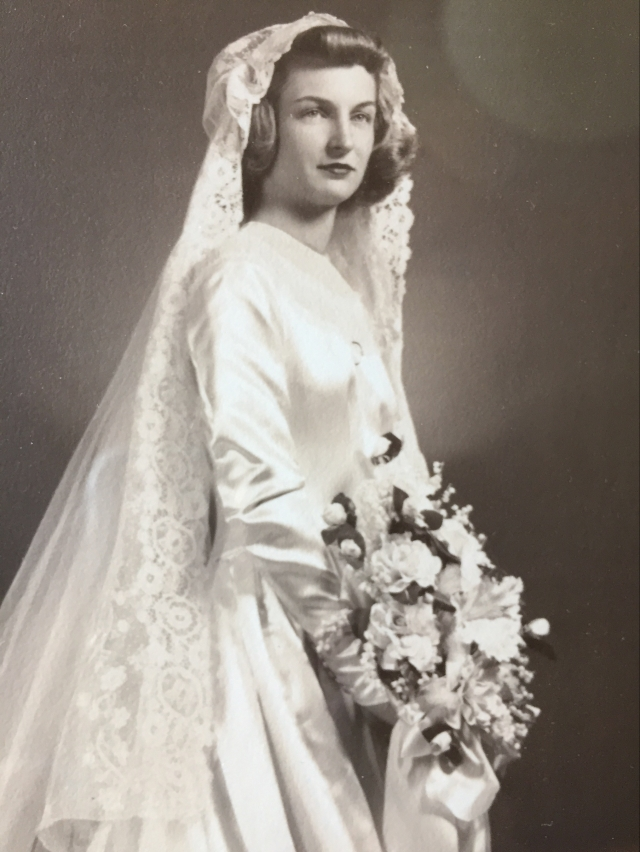 Mom in her wedding dress.